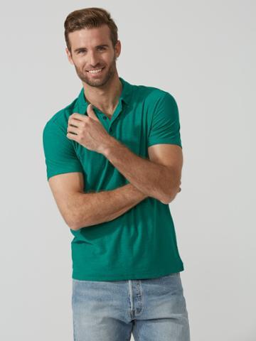 Frank + Oak Reverse-slub Large-pocket Polo In Green