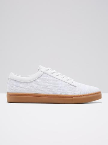 Frank + Oak Perforated Leather Low-top Sneaker In Bright White