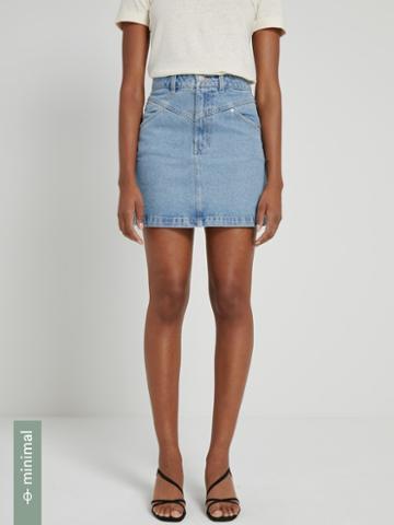 Frank + Oak Good Cotton Denim Mini Skirt In Light Indigo