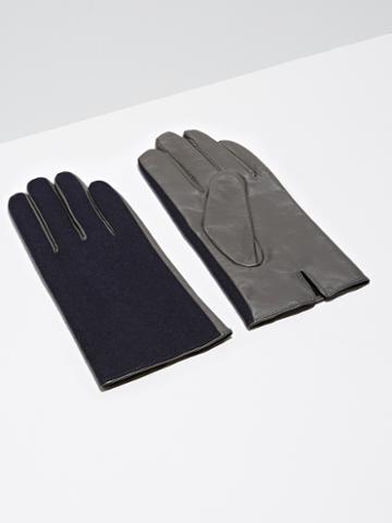 Frank + Oak Wool & Lambskin Gloves In Dark Sapphire