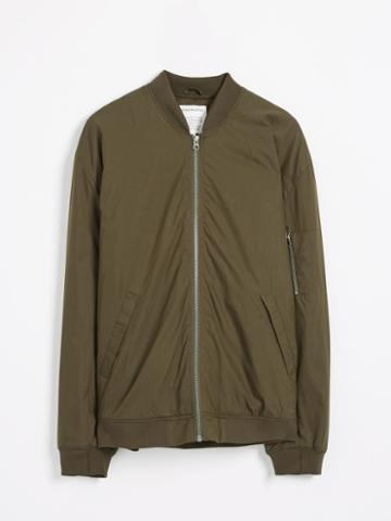 Frank + Oak Military Nylon Bomber Jacket In Dark Olive