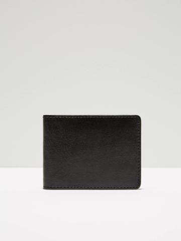 Frank + Oak Leather Bill Fold Wallet In Black