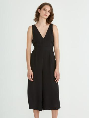 Frank + Oak Solid V-neck Jumpsuit In Black