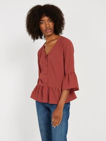 Frank + Oak V-neck Bell Sleeve Blouse - Dark Orange