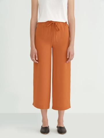 Frank + Oak Wide Leg Pant In Dark Orange
