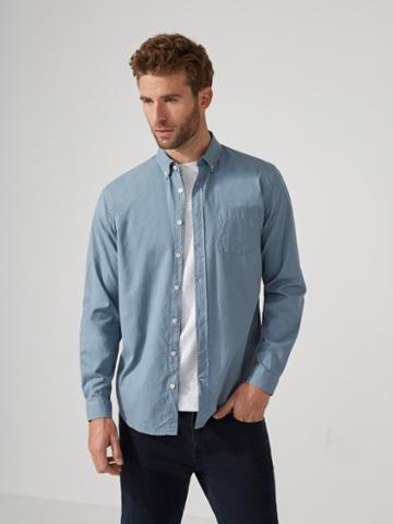 Frank + Oak Garment-dyed Lightweight Oxford Shirt In Citadel