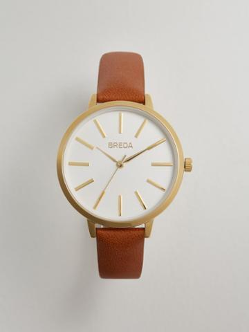 Frank + Oak Breda Joule Watch In Cognac Leather/rose Gold