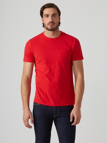 Frank + Oak Crewneck Pocket T-shirt In Red