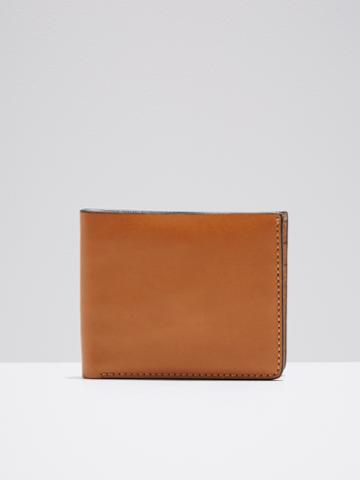 Frank + Oak Leather Slim Bifold Wallet In Tan