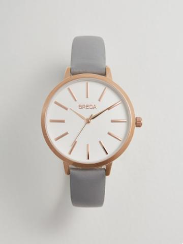Frank + Oak Breda Joule Watch In Grey Leather/rose Gold
