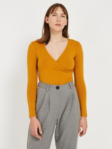 Frank + Oak Wrap Top - Mustard Brown