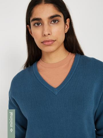 Frank + Oak Organic-recycled-cotton V-neck Sweater - Teal