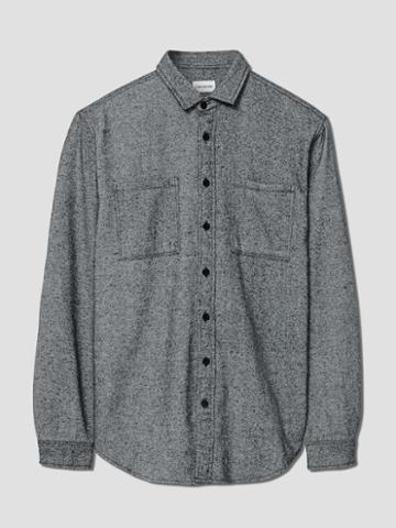Frank + Oak Brushed-cotton Elbow Patch Shirt In Grey