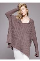 Fp Collection Womens Easy Cable Vneck Pullover