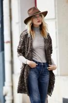 Free People Womens Fringe Wrap Blanket Coat