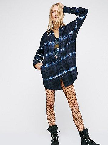 Free People Logan's Rib N' Plaid Buttondown