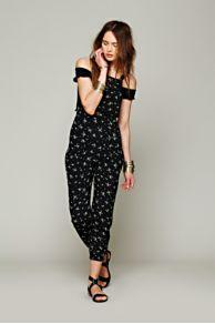 Flynn Skye Black Ditsy Overall At Free People