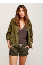 Free People Womens Hooded Swingy Military Jacket