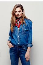 Free People Womens Straight Shooter Denim Buttondown