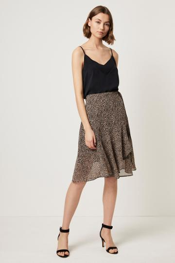 French Connenction Animal Print Wrap Midi Skirt