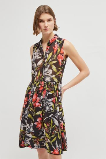 French Connenction Cadencia Drape Floral Shirt Dress
