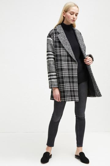 French Connenction Belinda Check Slouchy Coat