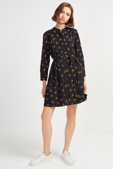 French Connenction Hester Drape Belted Shirt Dress