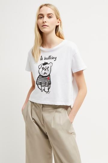 French Connenction Le Bulldog Heart Cropped Tee