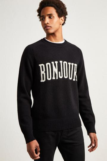 French Connenction Bonjour Wool Intarsia Jumper