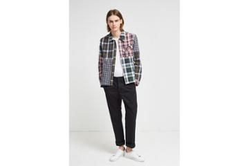 French Connection Laundered Oxford Check Patchwork Jacket