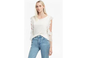 French Connection Ruffle Mix Jersey Top