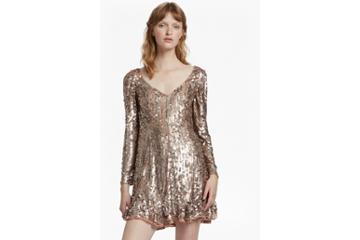 French Connection Aurelie Sequin V Neck Dress