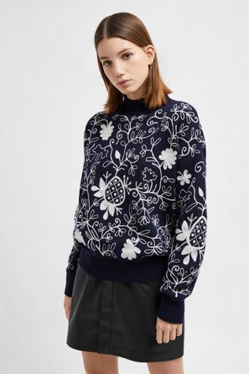 French Connenction Sacha Embroidered Knit High Sweater