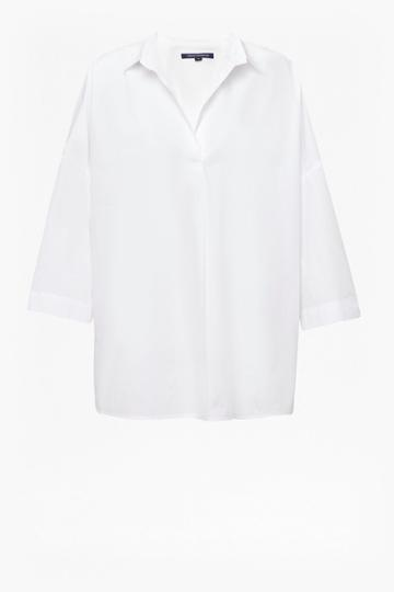 French Connenction Adoni Poplin Dipped Hem Shirt