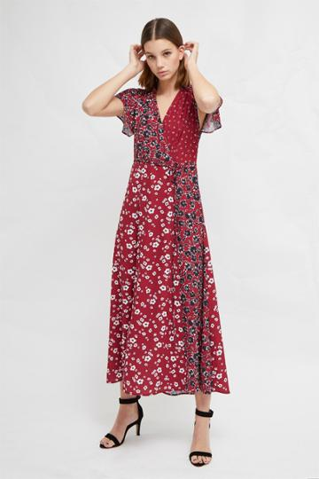 French Connenction Aliyah Crepe Floral Maxi Dress