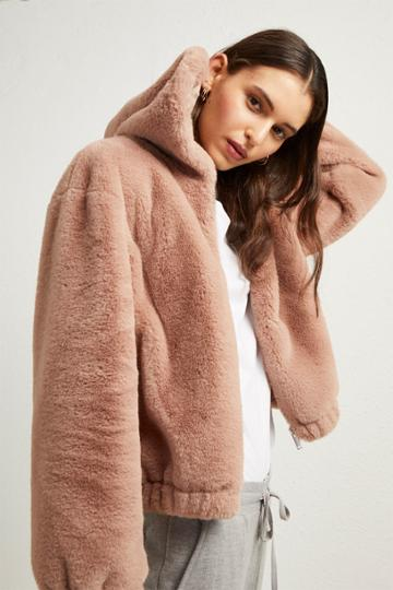 French Connenction Arabella Faux Fur Hooded Jacket