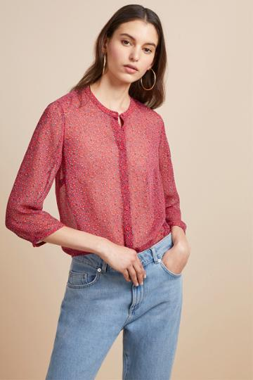 French Connection Aubine Crinkle Floral Collarless Shirt