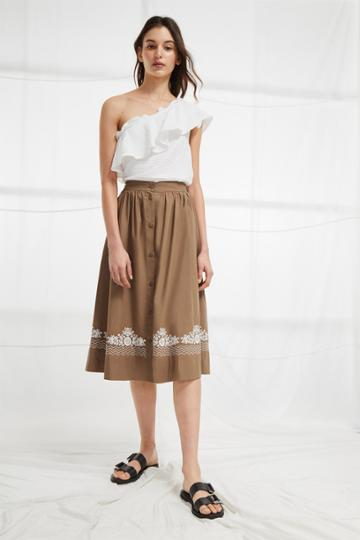 French Connection Rhodea Poplin Embroidered Basque Skirt