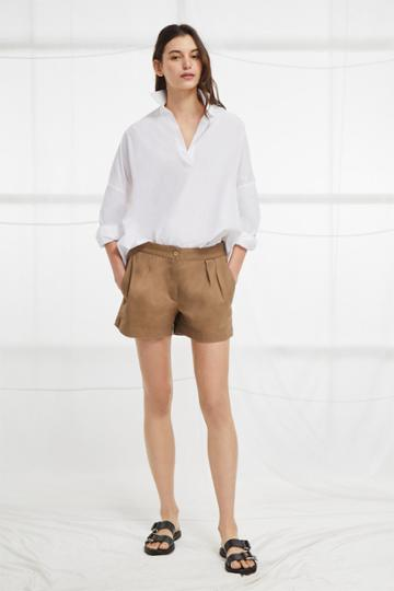 French Connection Collman Cotton Pleat Front Shorts