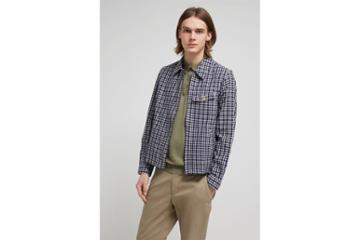 French Connection Laundered Oxford Check Harrington Jacket