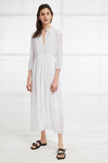 French Connection Alimos Broderie Midi Dress