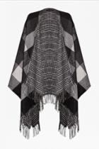 French Connection Double Faced Woven Check Cape