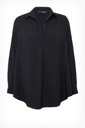 French Connenction Rhodes Crepe Pop Over Shirt