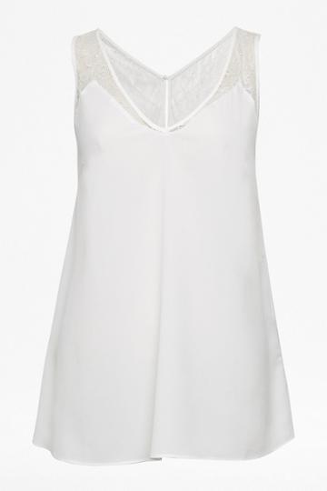 French Connenction Crepe Light Lace Trim Vest