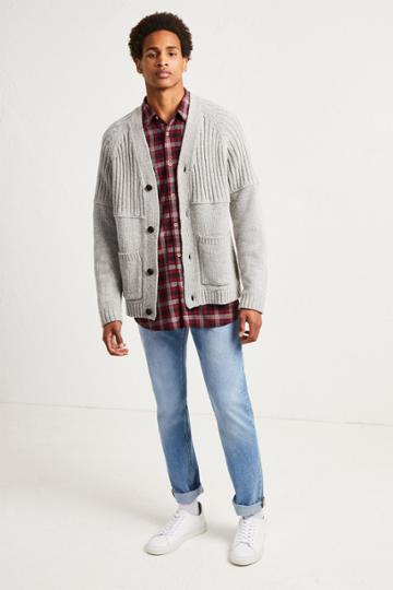 French Connenction Cotton Wool Split Cardigan