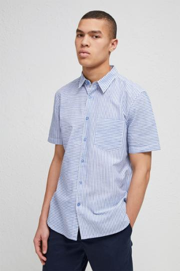 French Connection Cotton Linen Chambray Stripe Shirt