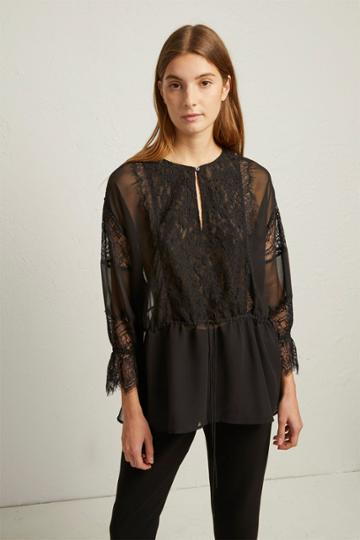 French Connenction Abella Lace Mix Tie Sleeve Blouse