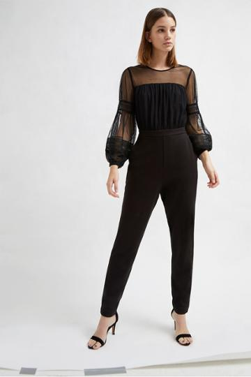 French Connenction Paulette Jersey Puff Sleeve Jumpsuit