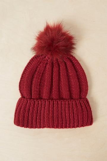 French Connenction Faux Fur Pom Beanie Hat
