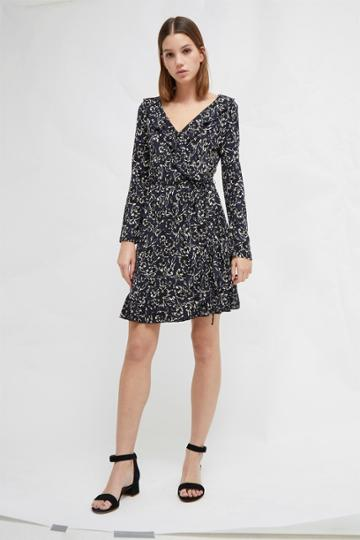 French Connenction Aubi Meadow Jersey Floral Wrap Dress